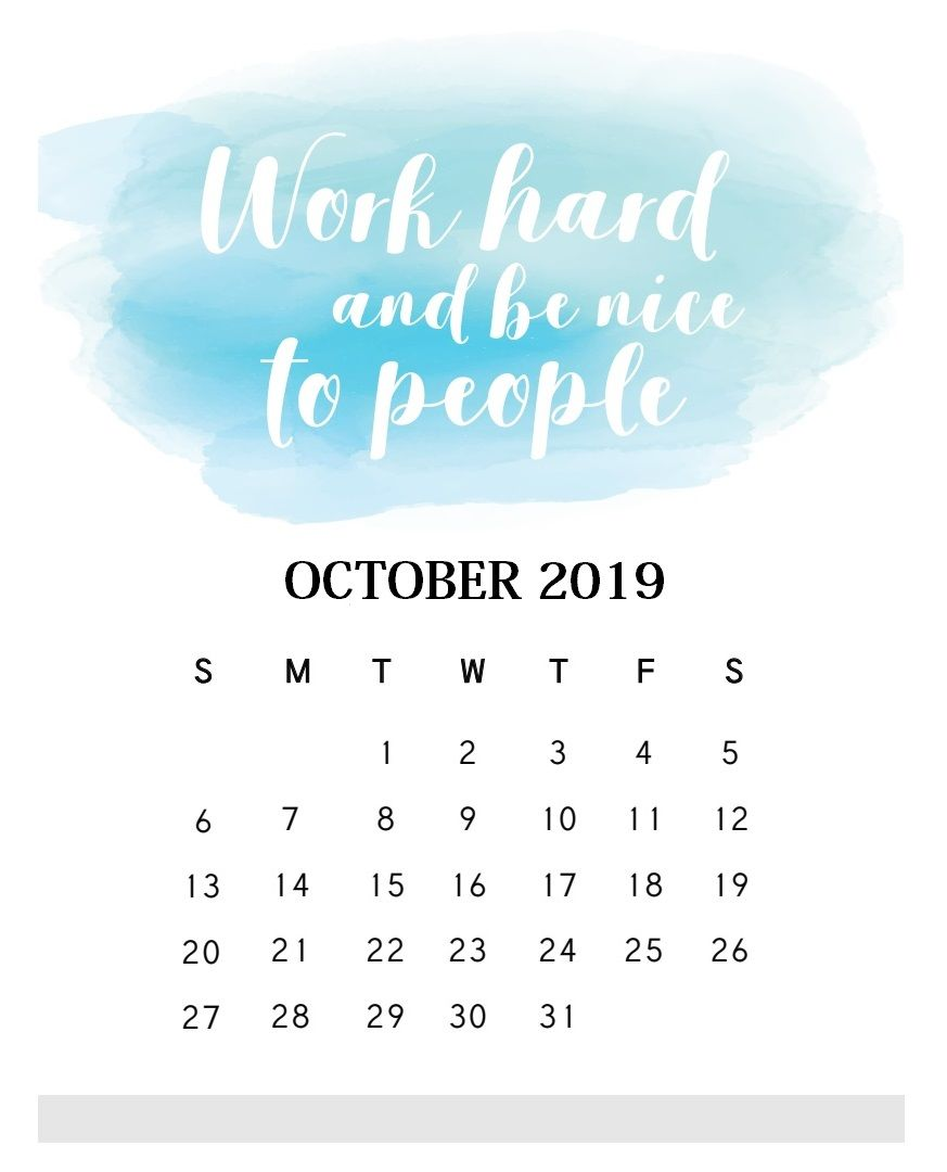 Inspirational October 2019 Quotes Calendar Monthly Quotes