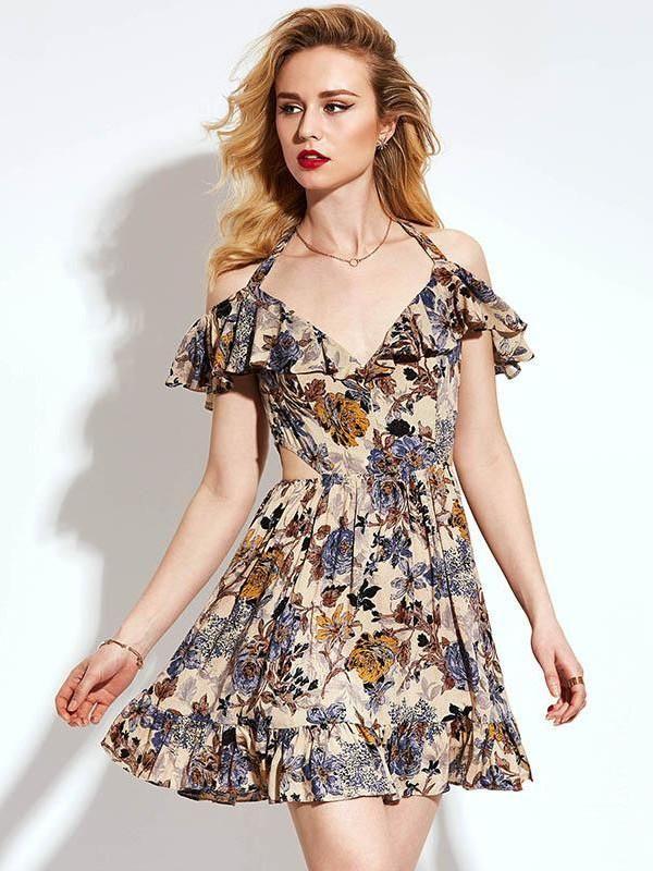 0cae3f30ad2 Robe beige fleurie à volants et noeud nistie.com -  mode  fashion