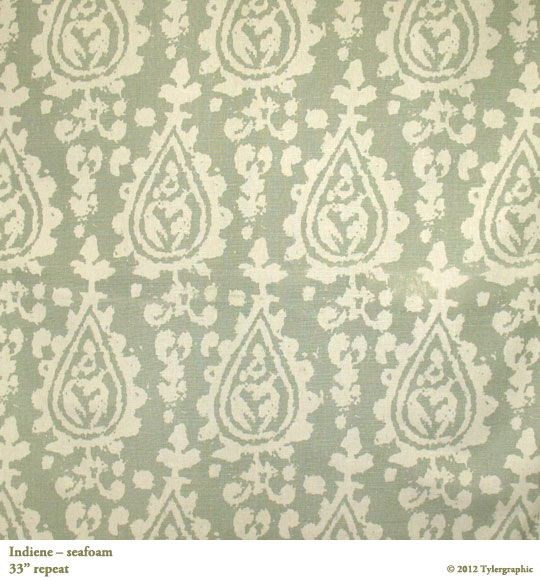 Indiene in Seafoam from Tylergraphic #textiles #fabric #green