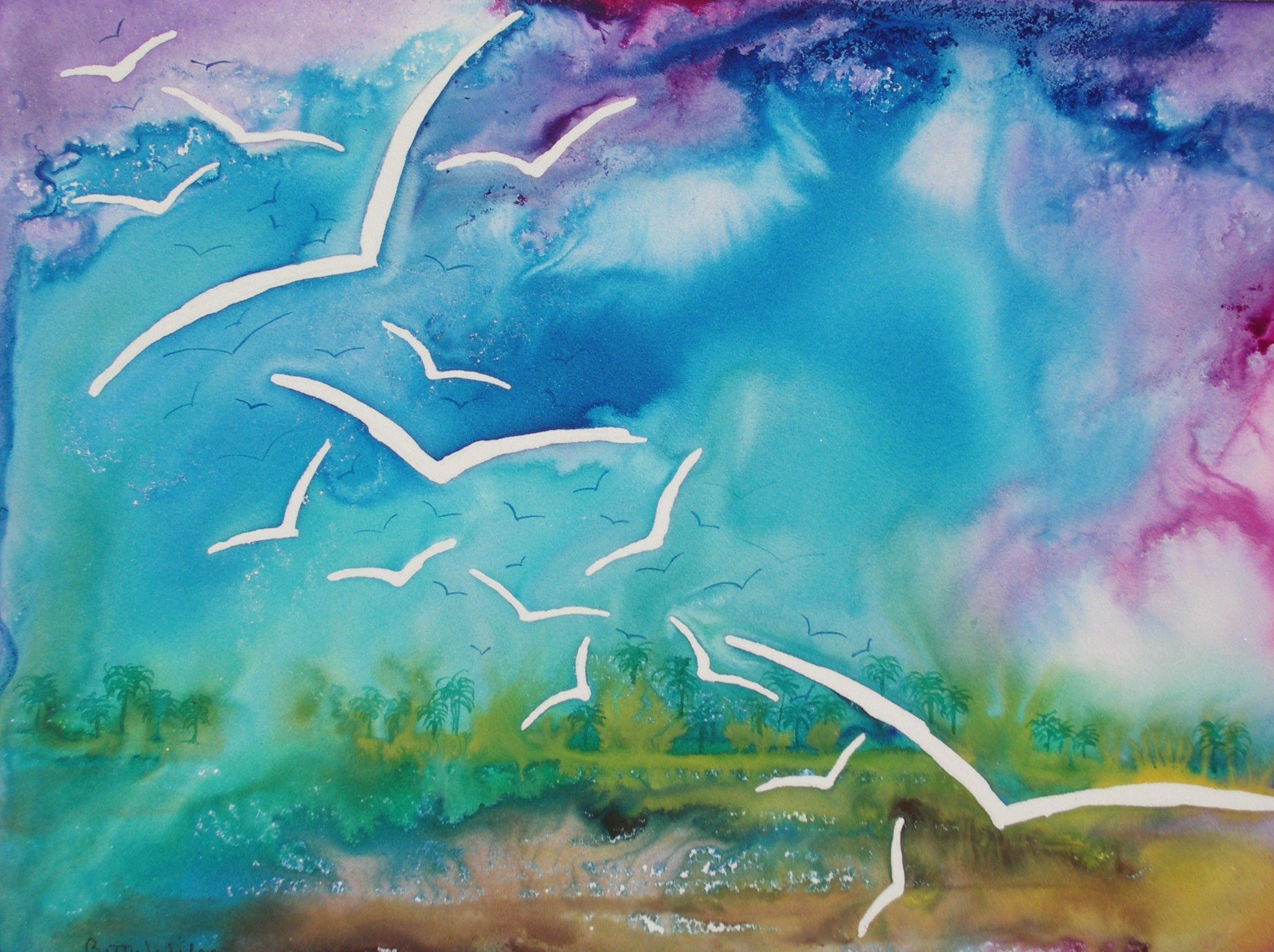 Gulls Of Sanibel Watercolor On Rtistx Board By Betty Wilson