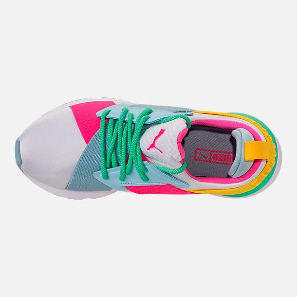 a8e7f7883a1 Top view of Girls' Grade School Puma Muse Jr. Casual Shoes in White/Knockout  Pink/Biscay Green