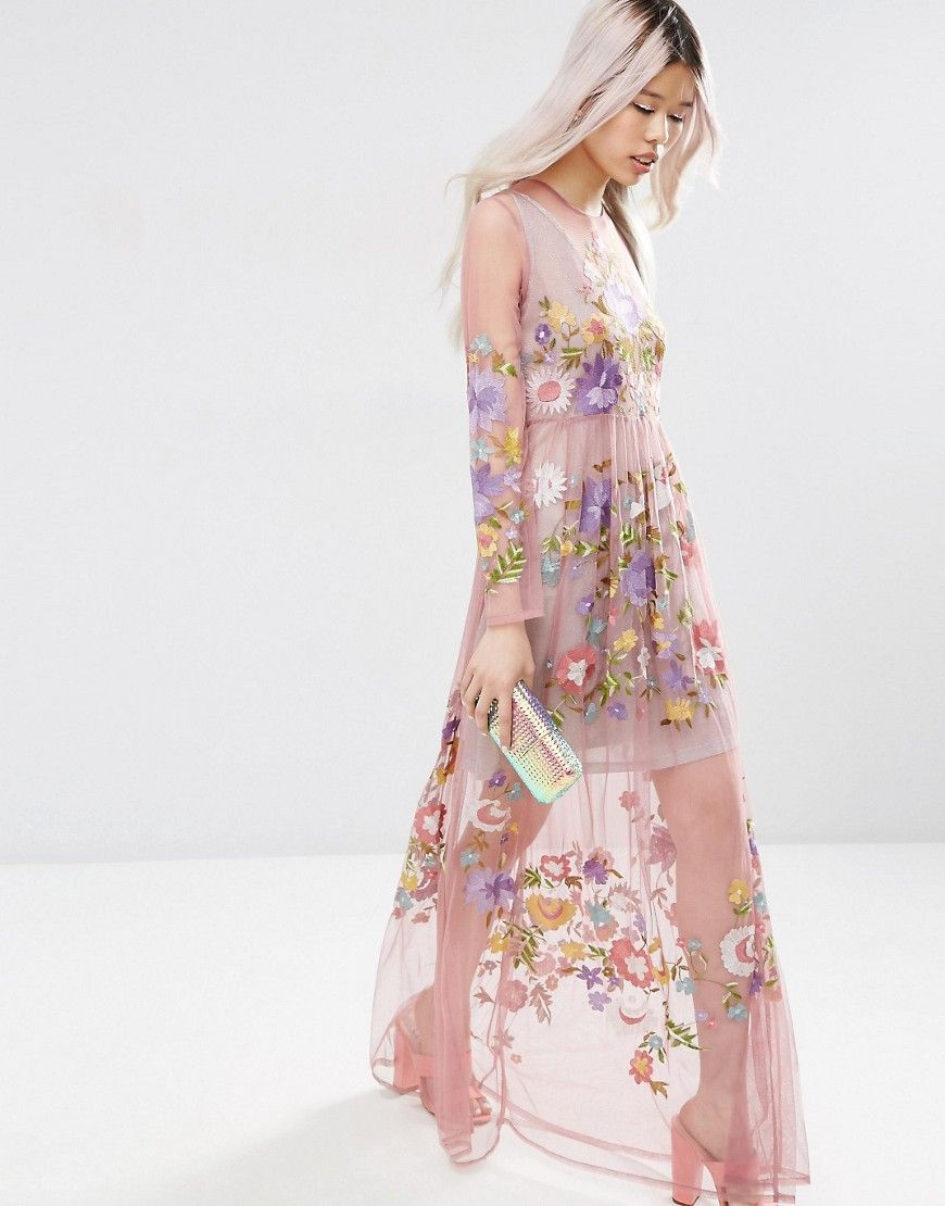 Asos Pretty Embroidered Mesh Maxi Dress With Metallic Cami