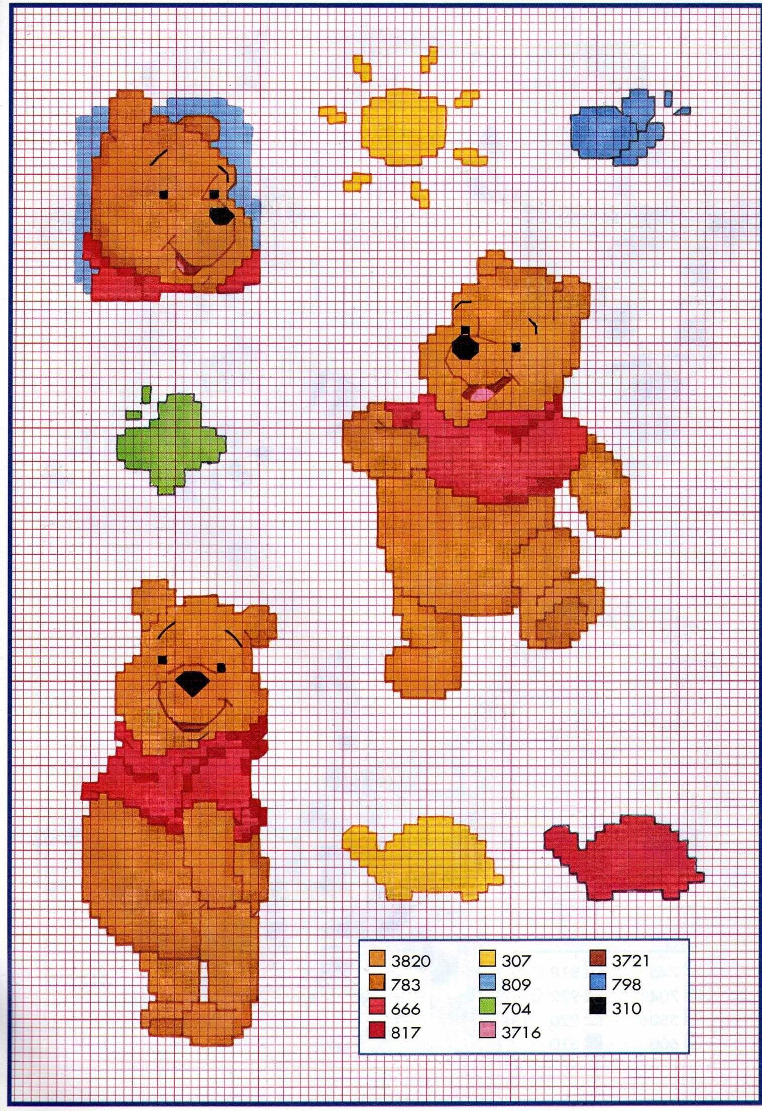 Pics Photos Modele Tricot Gratuit Winnie L Ourson   Winnie l'ourson, Kit point de croix, Stitch ...