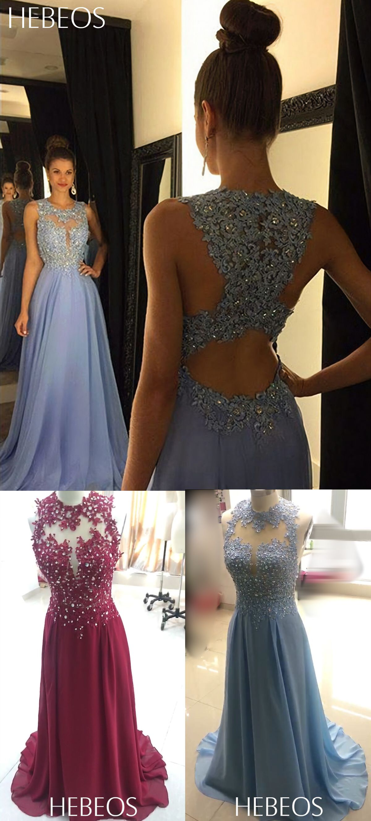 f18475e3c59 HEBEOS A-Line Scoop Chiffon Light Sky Blue Long Prom Dresses 2018. All  sizes and colors available.