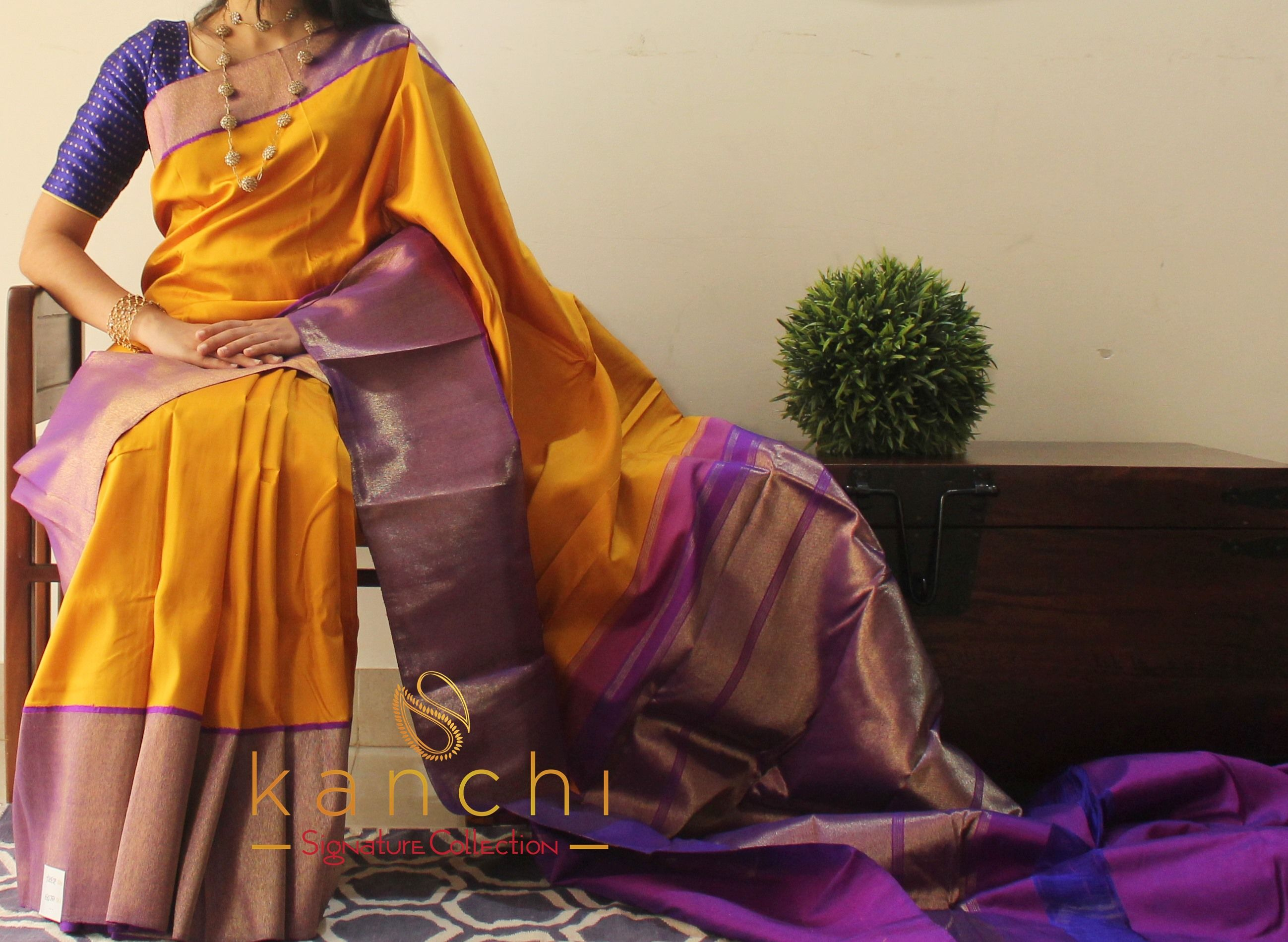 Yellow Kanchipuram Saree With Purple Border With Zari Weave To Place An Order Whatsapp Us At 91 9880859041