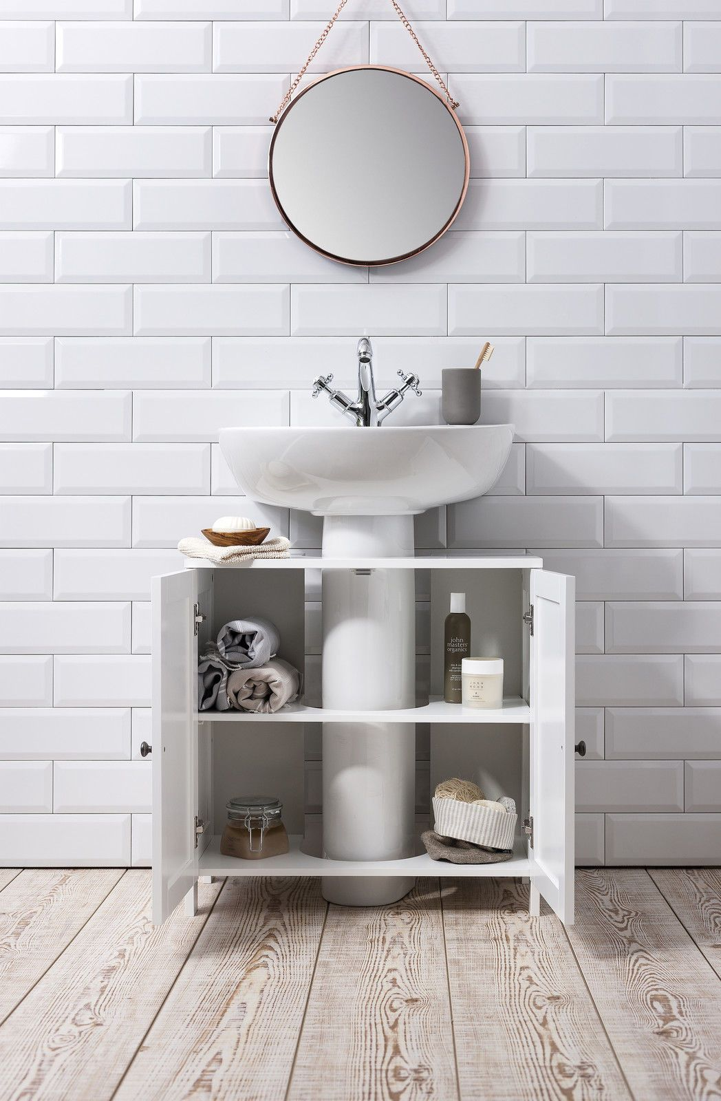 Bathroom Sink Undersink in White Stow Small