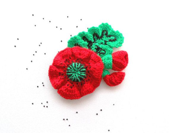 Crochet Brooch Poppy Brooch Large Red Poppy by CraftsbySigita ...