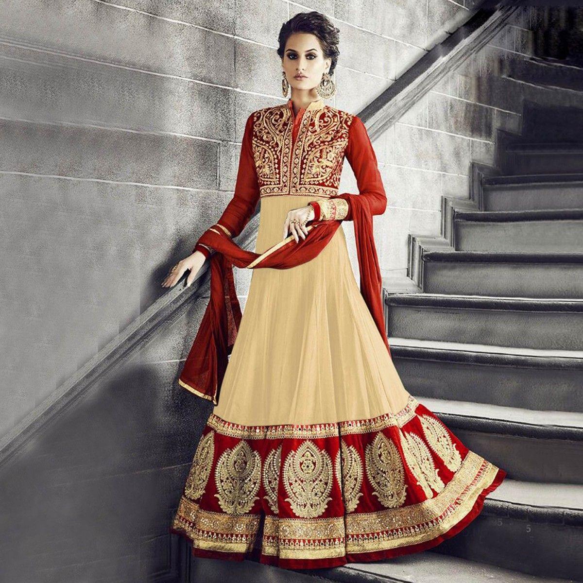 Buy Cream - Red Wedding Anarkali Suit - Online Women Ethnic Wear ...
