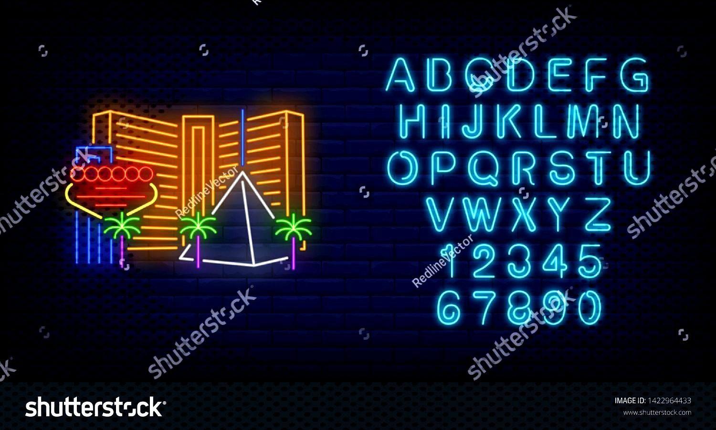Vegas city buildings and landmarks neon sign. Sightseeing, tourism, casino design. Night bright neo