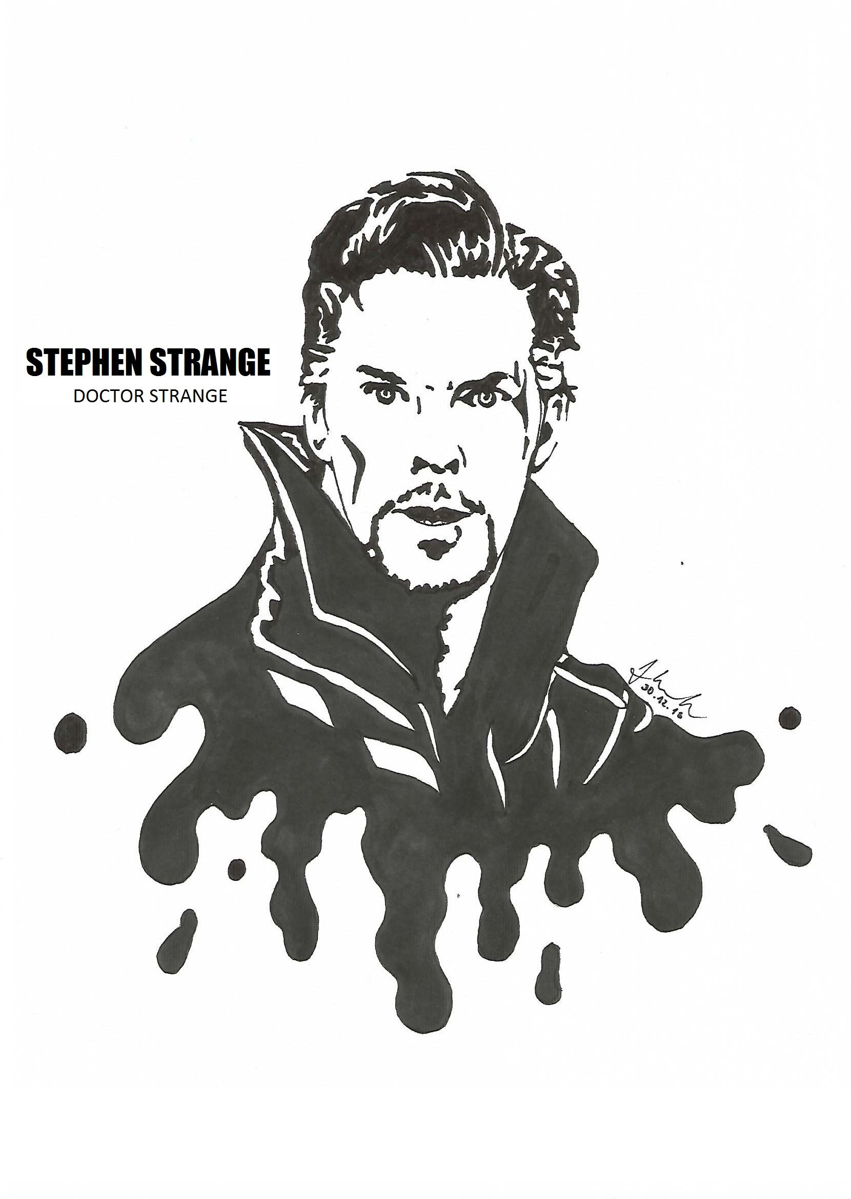 Stephen Strange Doctor Strange Benedict Cumberbatch Drawing Blackandwhite Marvel