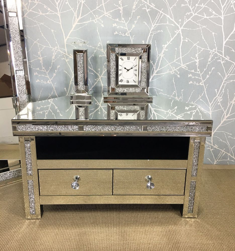Sparkly Silver Mirrored Gl Crushed Diamond Crystal Corner Tv Cabinet Stand