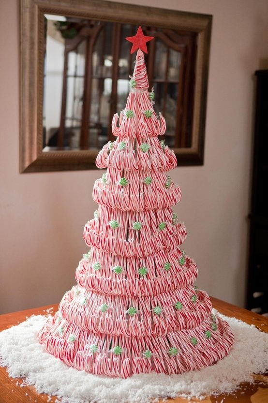 Diy Candy Cane Tree Tutorial Great Centerpiece Candy Cane Christmas Tree Christmas Diy Christmas Candy Cane
