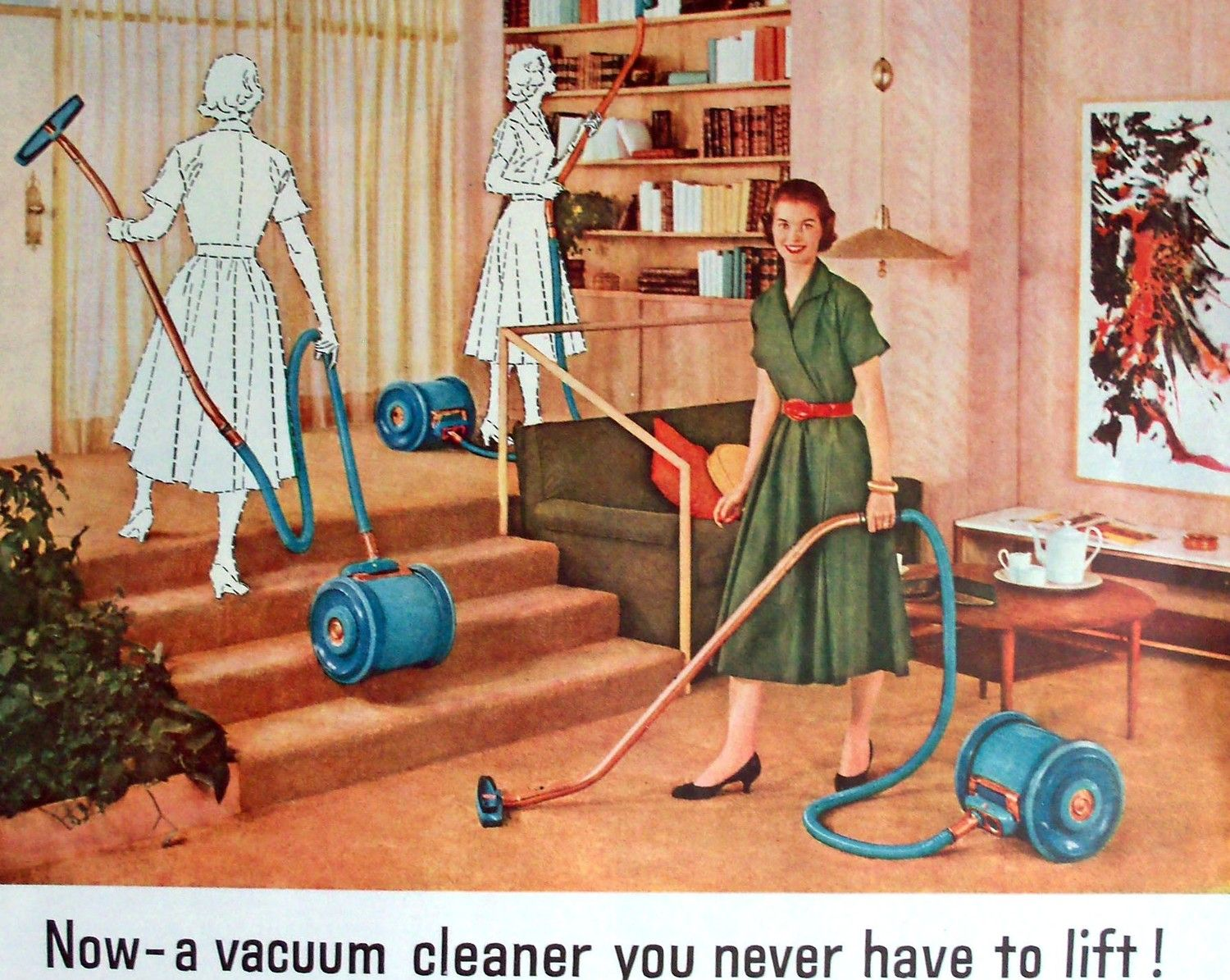 Christmas 1955 GE General Electric Vacuum Print Ad Ladies Home Journal.