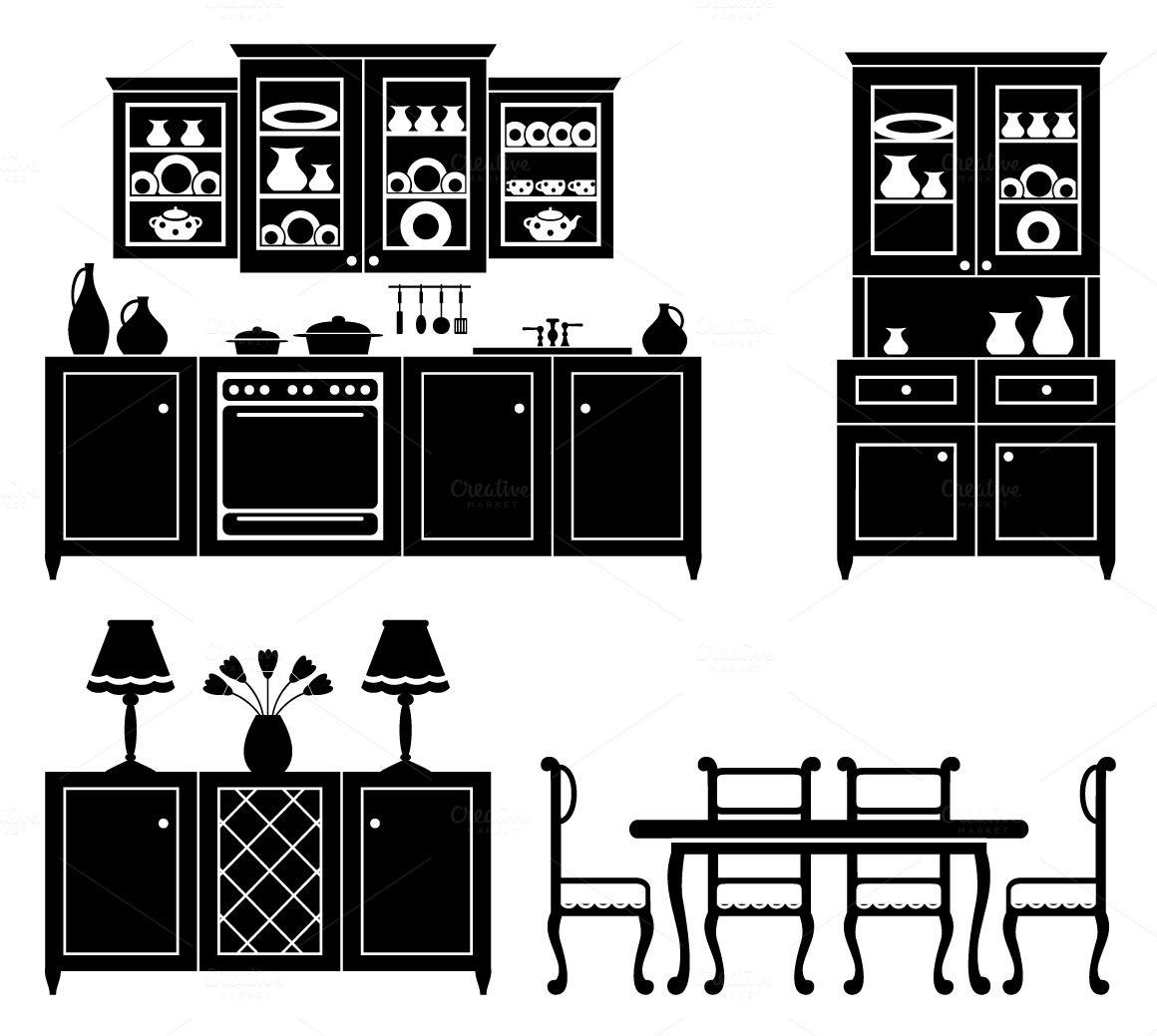 Images of furniture in black Casa de boneca