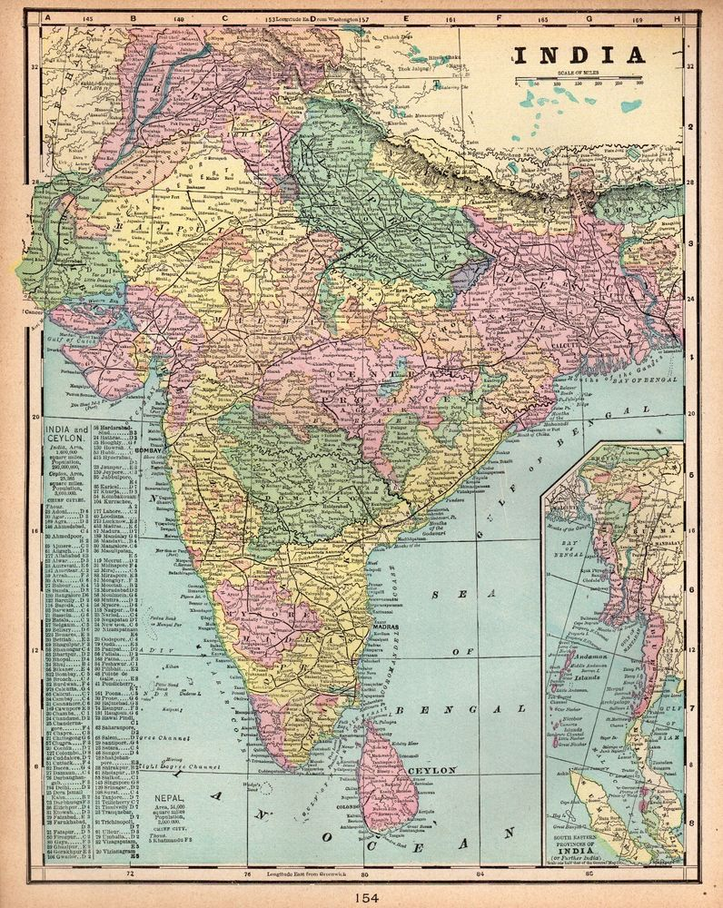1900 Antique India Map Original Vintage Map Of India Gallery Wall