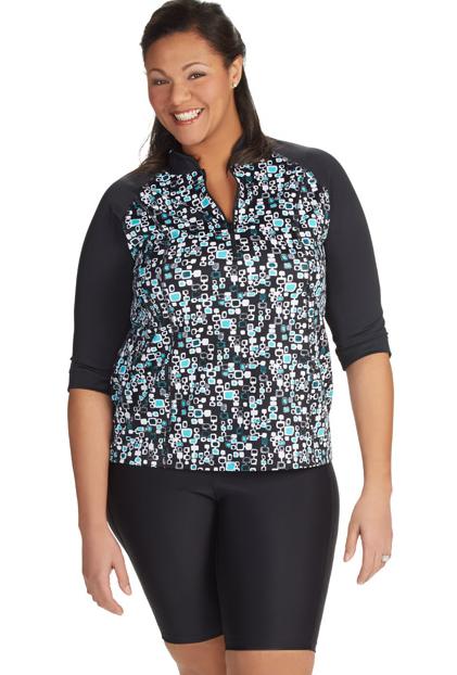 38abf04e05097 Fashion for women Plus Size plus womens swim shirt  swim  plussize  swimsuit   black  rashguard  swim  shirt
