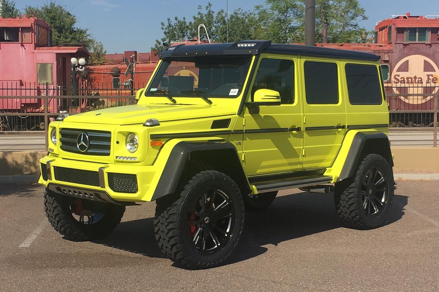 Lime Green Mercedes G Class Dressed Up In Carbon Fiber Fender