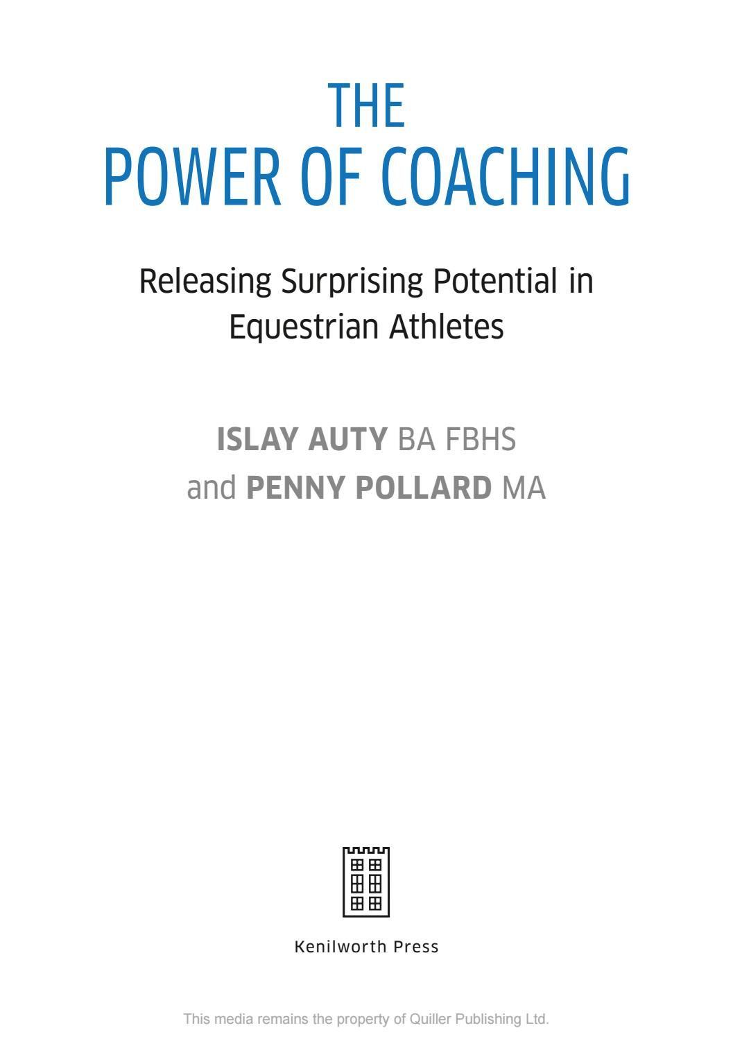 An innovative approach to coaching whereby the authors have merged their knowledge of equestrian sport with commercial business management enabling a more practical approach and the release of more potential in equestrian athletes