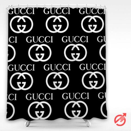 Gucci Black White Logo Pattern Shower Curtain Cheap