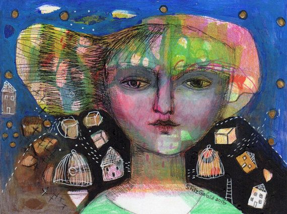 mixed media original painting paper dream ethereal by kittyjujube