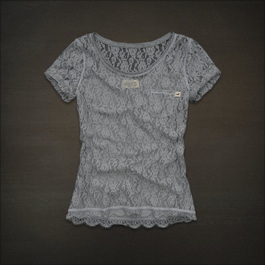 lacy hollister shirt + cute cami + chic jean shorts = sweet outfit ...
