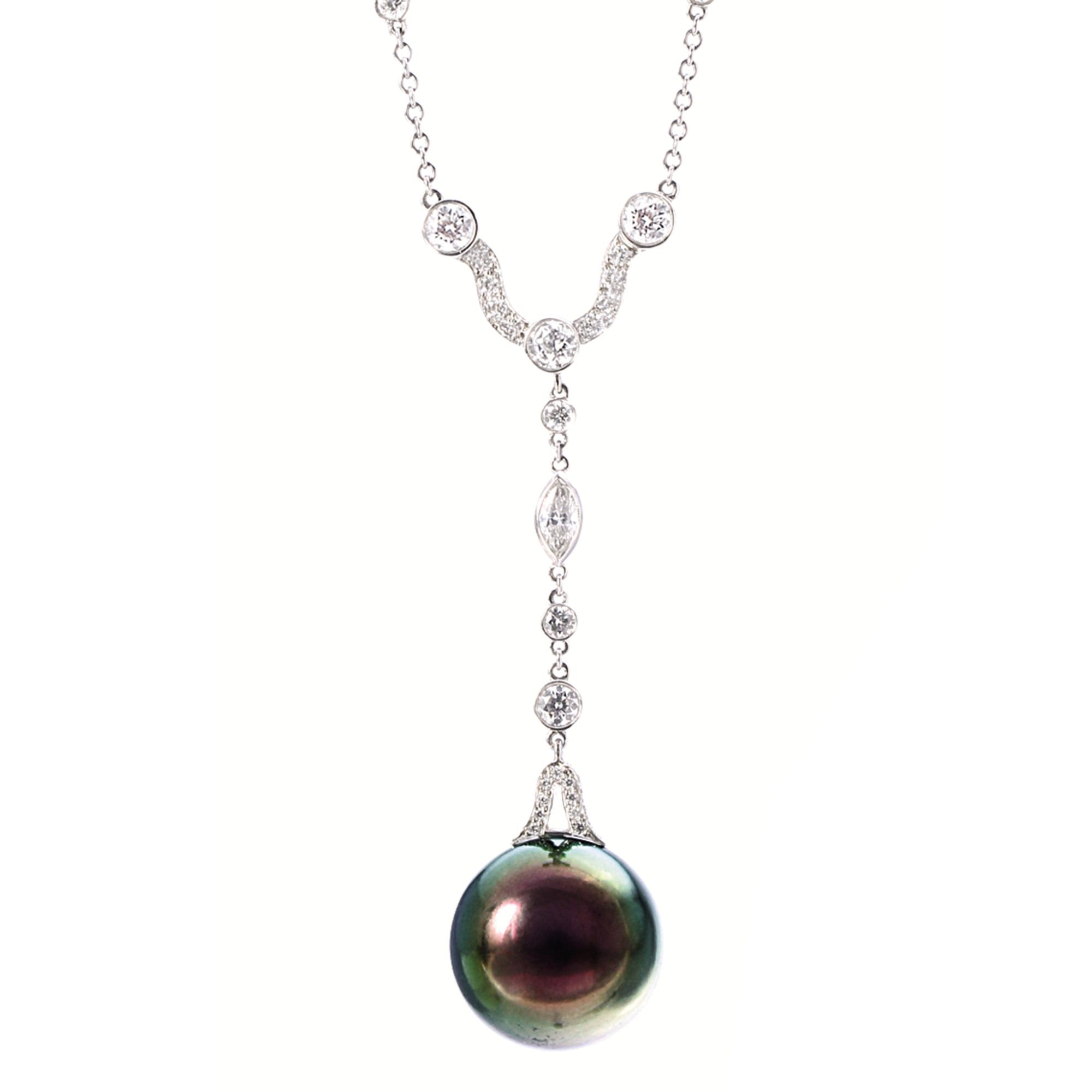 Cultured pearl and diamond pendant necklace tiffany co cultured pearl and diamond pendant necklace tiffany co suspending a cultured pearl measuring aloadofball Gallery