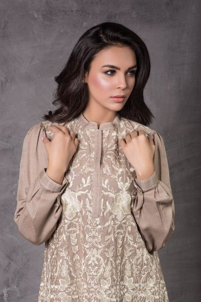 15W129 Beige Embroidered Kurta - Origins R2W AW15 Collection