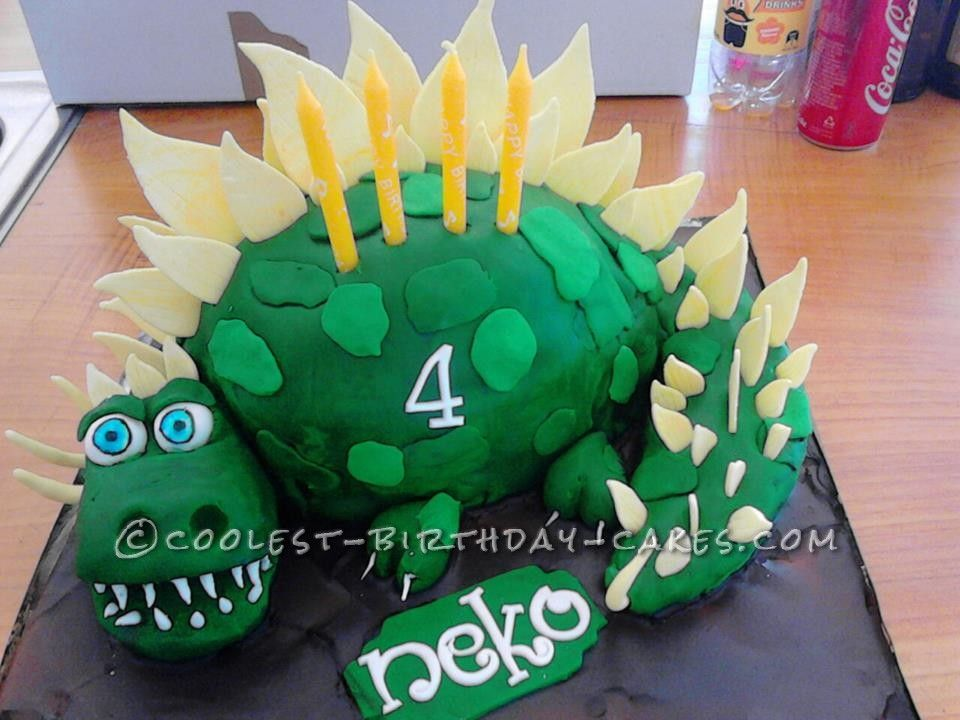 Sensational Coolest Homemade 3D Dinosaur Birthday Cake For A 4 Year Old With Personalised Birthday Cards Veneteletsinfo