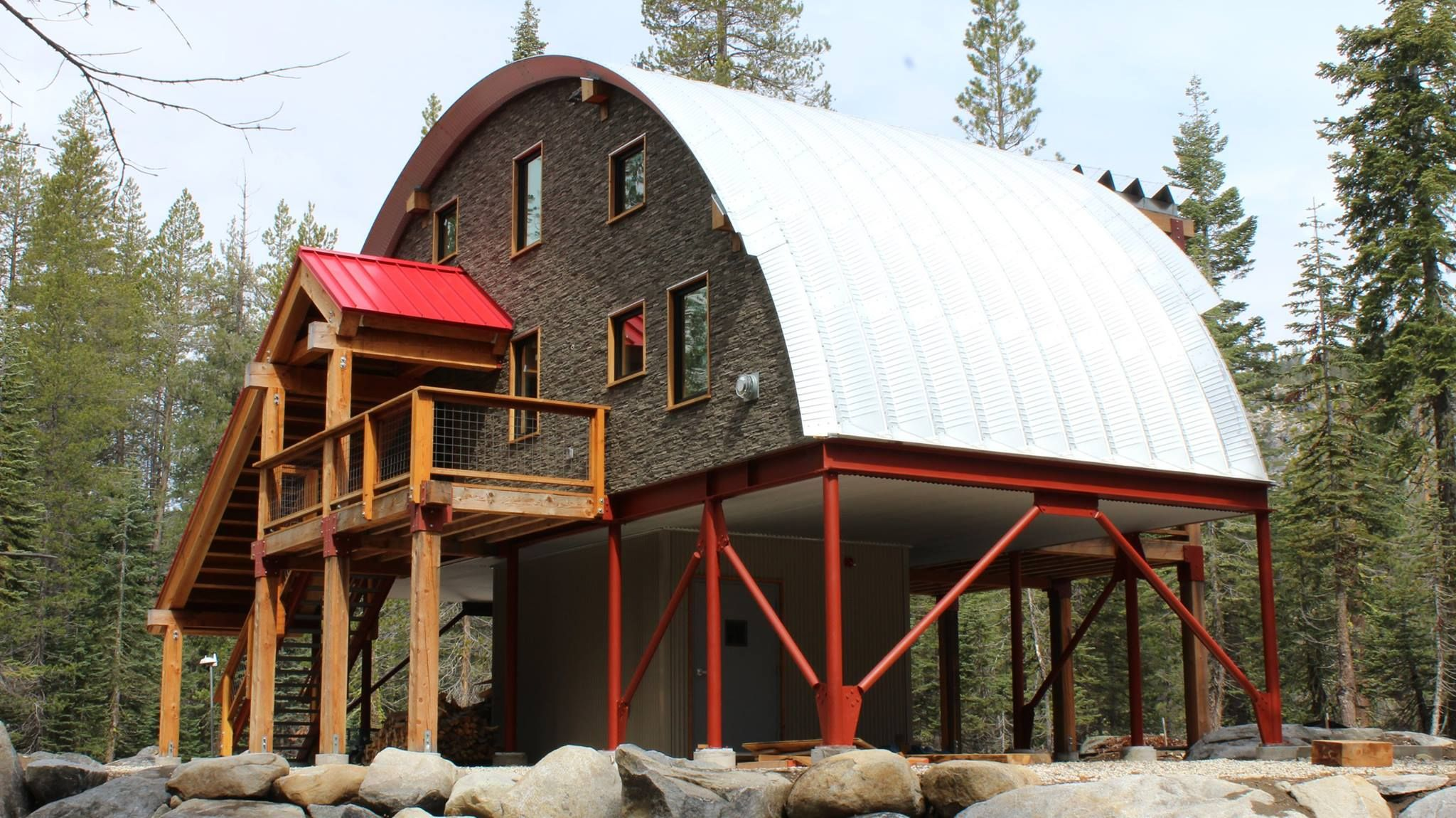 Need a cabin or a quonset hut or both check out this for Metal building cabin