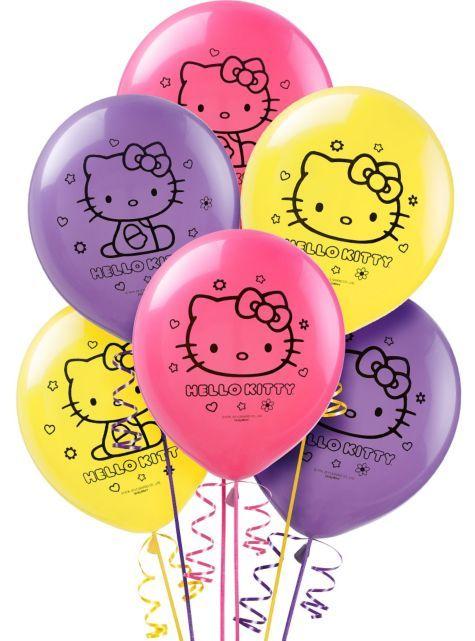 Neon Hello Kitty Balloons 12in 6ct