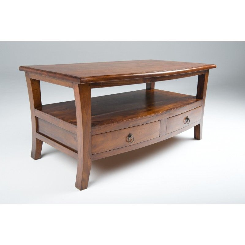 A Solid Mahogany Coffee Table With Four Drawers And Shelf Makes A