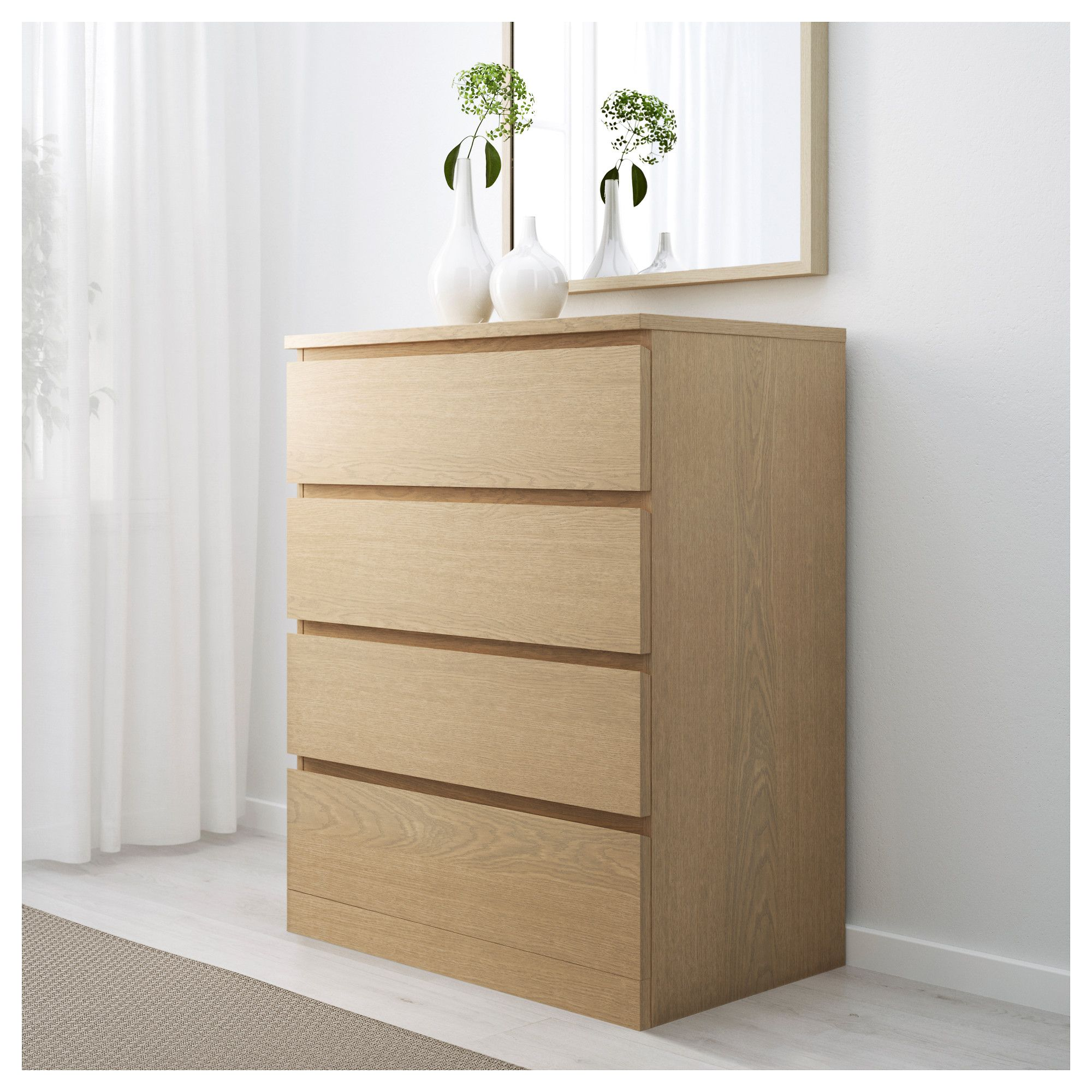 Malm 4 Drawer Chest White Stained Oak