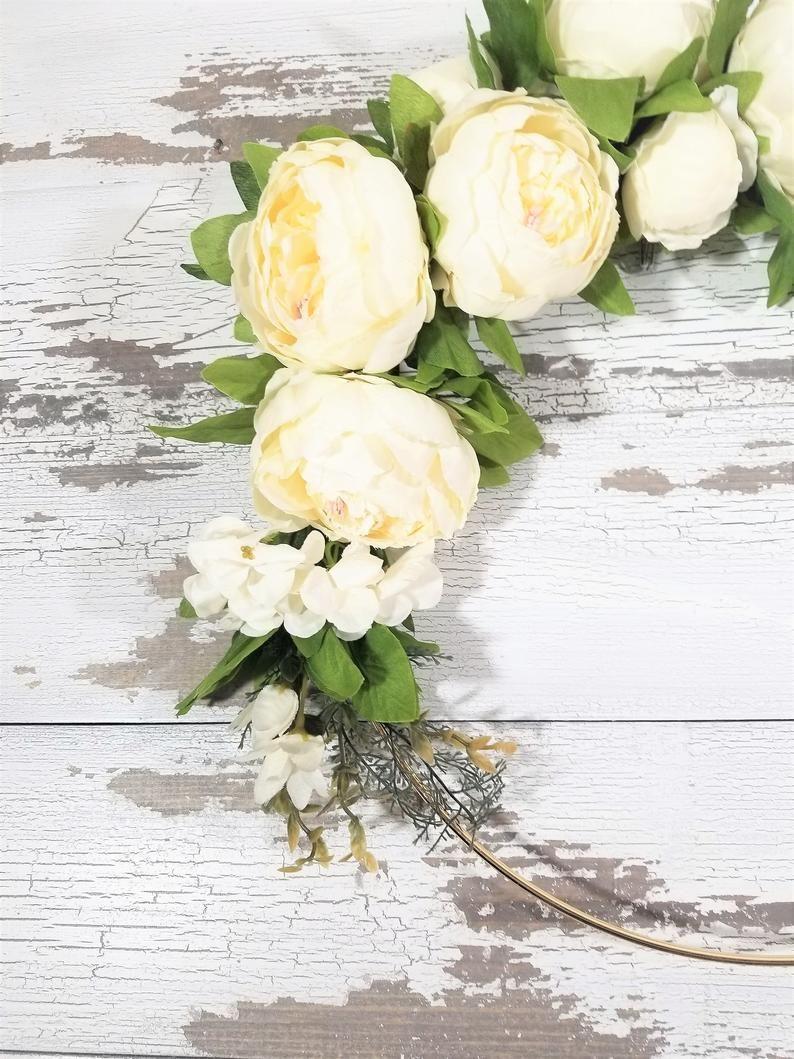 Photo of White spring wreath, white peony wreath, white and green modern wreath, tire wreath, white spring wreath, peony wreath