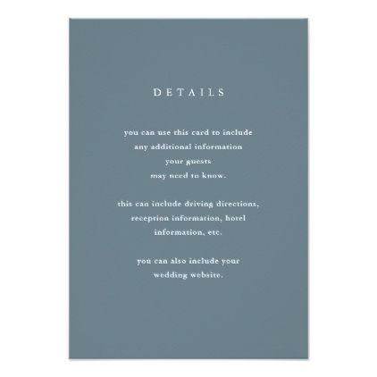 Modern and simple blue gray wedding guest details card modern and simple blue gray wedding guest details card wedding invitations cards custom invitation card stopboris Images