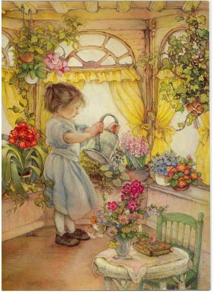 watering flowers, this is the cover of my address book!  Thanks Marcie
