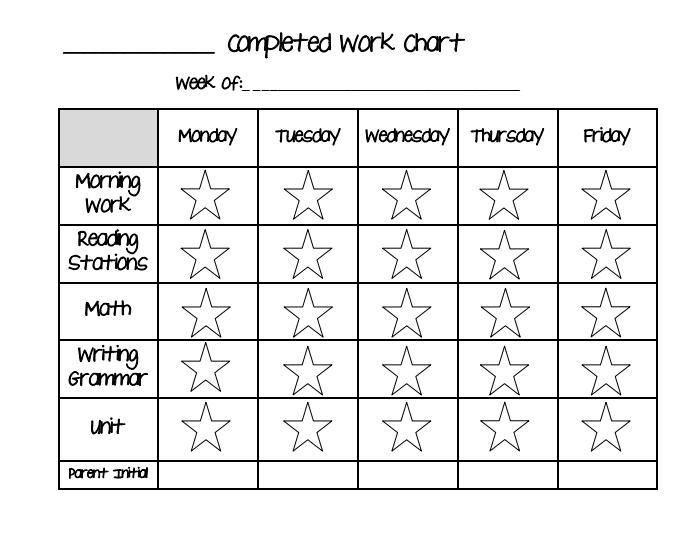 Star Completed Work Chart Pdf