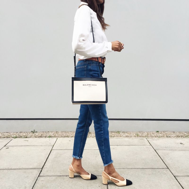 Pumps outfit, Chanel slingback