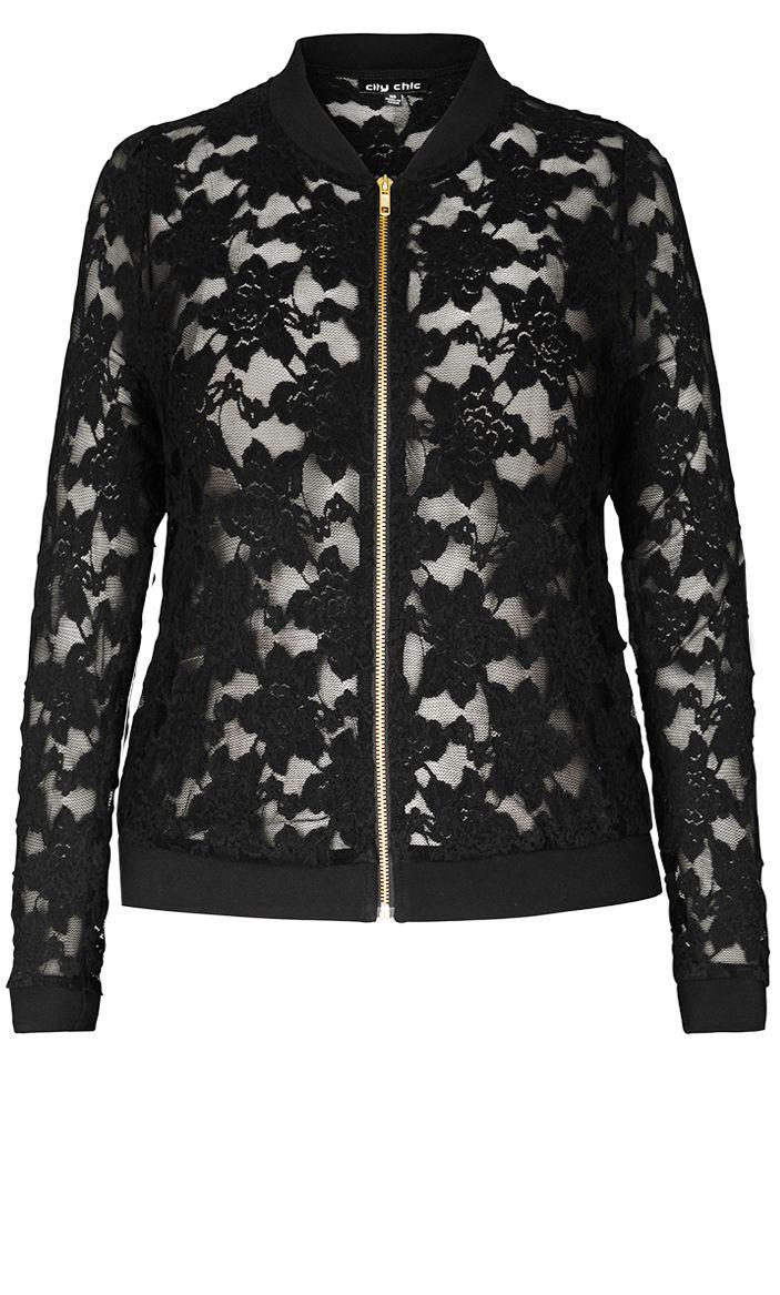 8883b684c96c7 City Chic - SEXY LACE BOMBER JACKET - Women s Plus Size Fashion ...