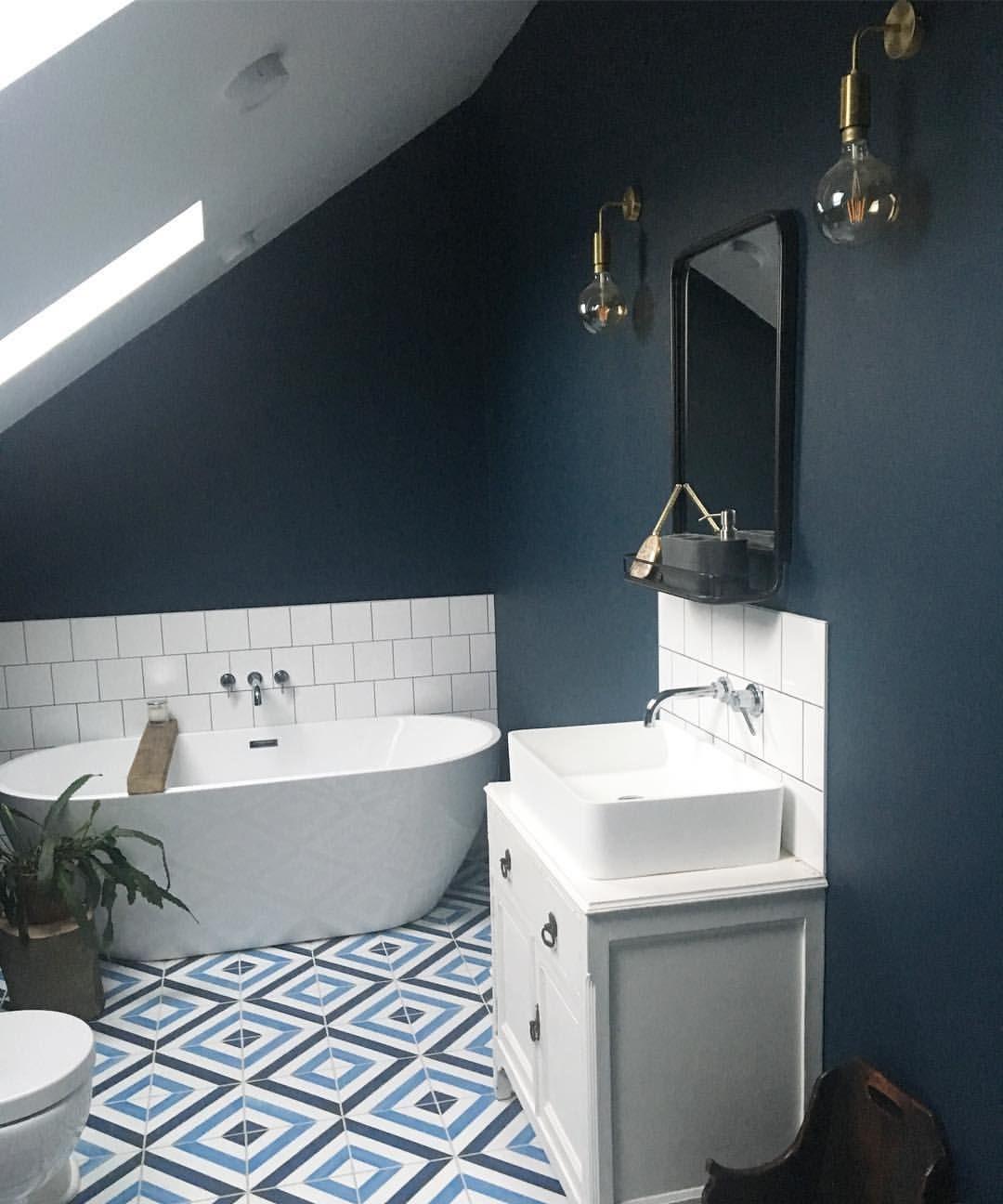 Dark Interior Walls Hague Blue Bathroom Freestanding Bath With Geometric Cement Encaustic Tiles Indust Blue Bathroom Paint Dark Blue Bathrooms Blue Bathroom