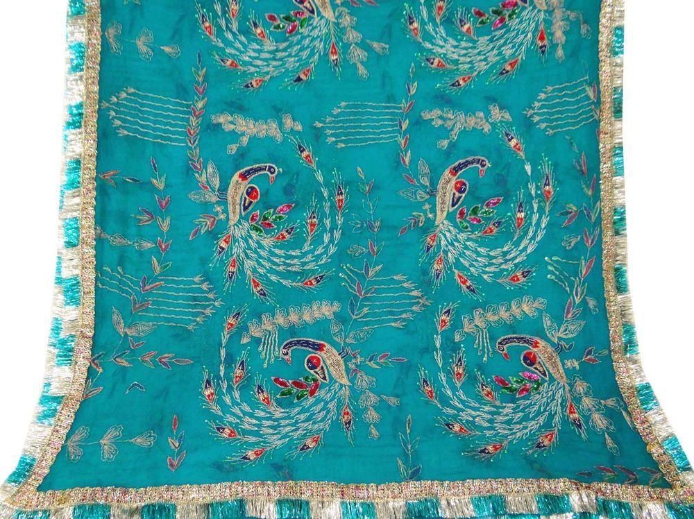 Vintage India Dupatta Embroidered Pure Chiffon Silk Fabric Stole Hijab Blue Deco