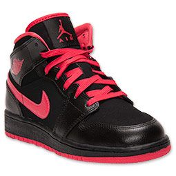finest selection 2fee5 f4198 Girls  Grade School Air Jordan 1 Mid Basketball Shoes   FinishLine.com    Black Fusion Red
