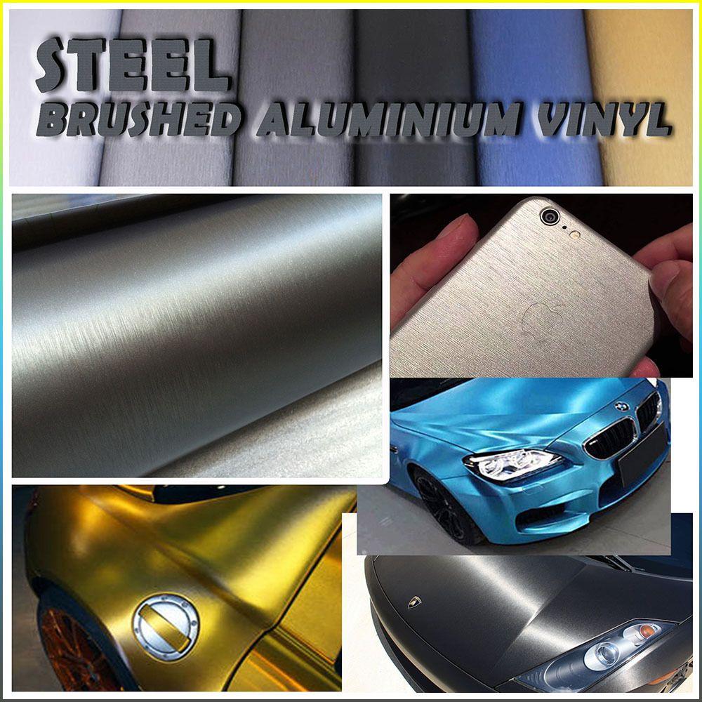 Steel Metal Brush Aluminium Adhesive Vinyl Wrap For Vehicles Dash Trim Furniture Vinyl Wrap Adhesive Vinyl Brushed Aluminum