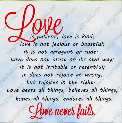 Love Is Patient...1 Corinthians SVG, DXF, EPS, PDF plus