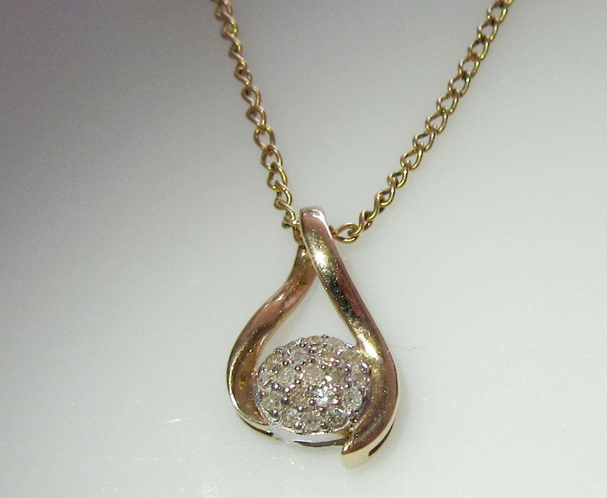 Ct gold diamond pendant and chain by britishgoldandsilver on etsy