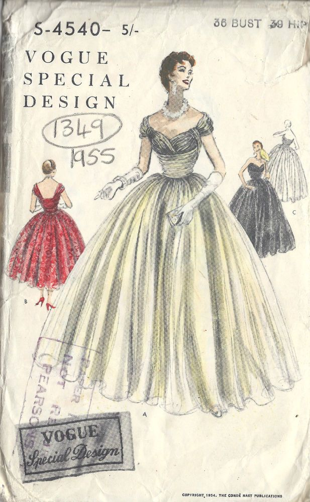 1954 Vintage Vogue Sewing Pattern B36 Dress 1349 Clothes