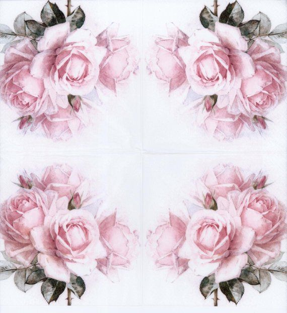 TEA PARTY FLORAL PINK 2 single LUNCH SIZE  paper napkins for decoupage 3-ply