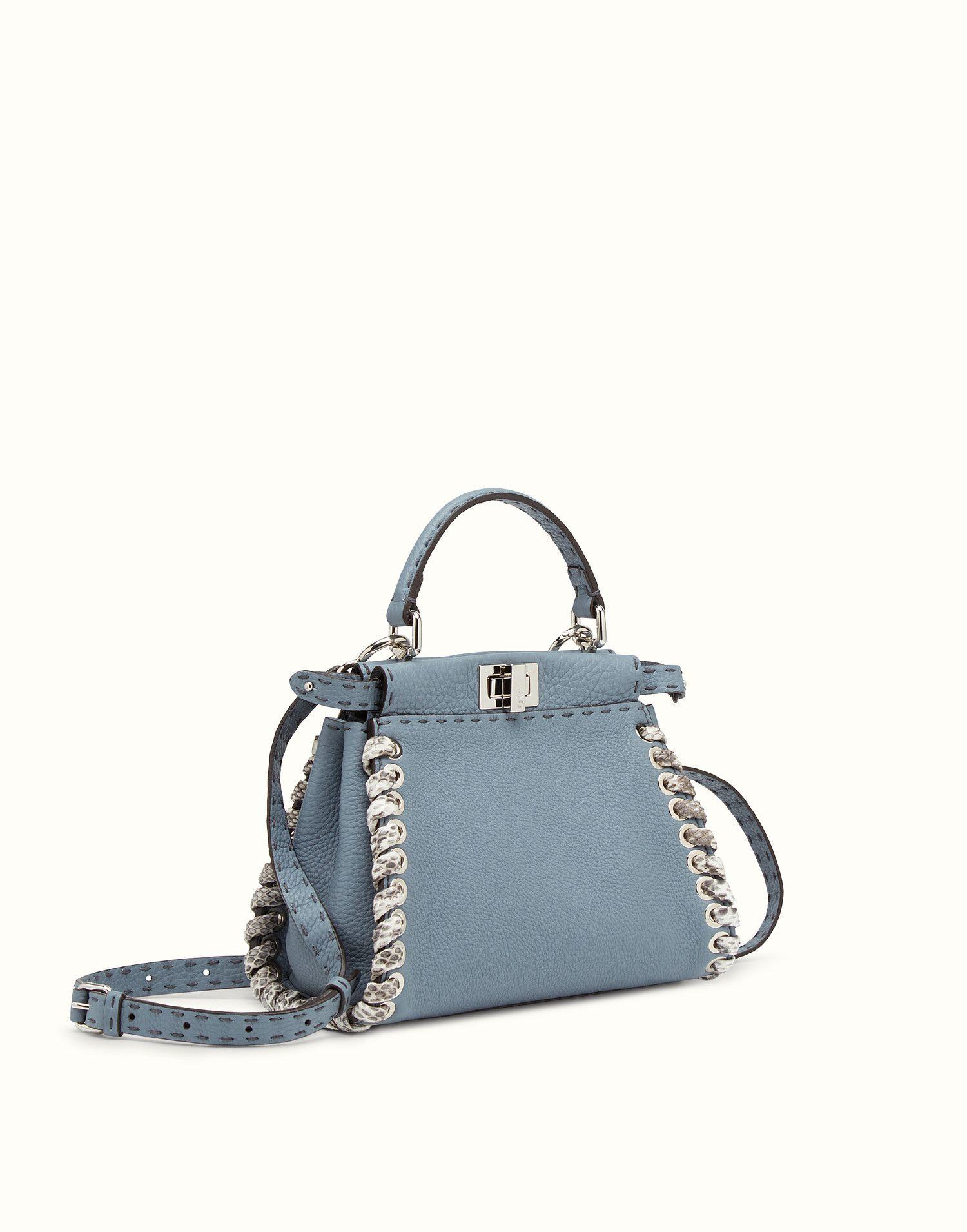 145d752375 FENDI PEEKABOO MINI - Light blue Selleria handbag with weave - view 2 zoom