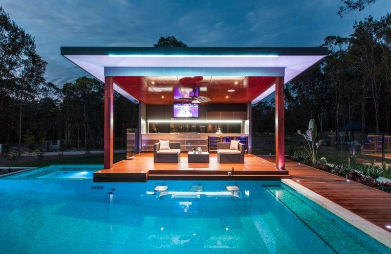 Midcentury Modern Pool Designs: The Ultimate Pool Cabana In An Updated  Midcentury Modern Design Extends The Hours Of Swimming Pool Enjoyment In  This Outdoor ...