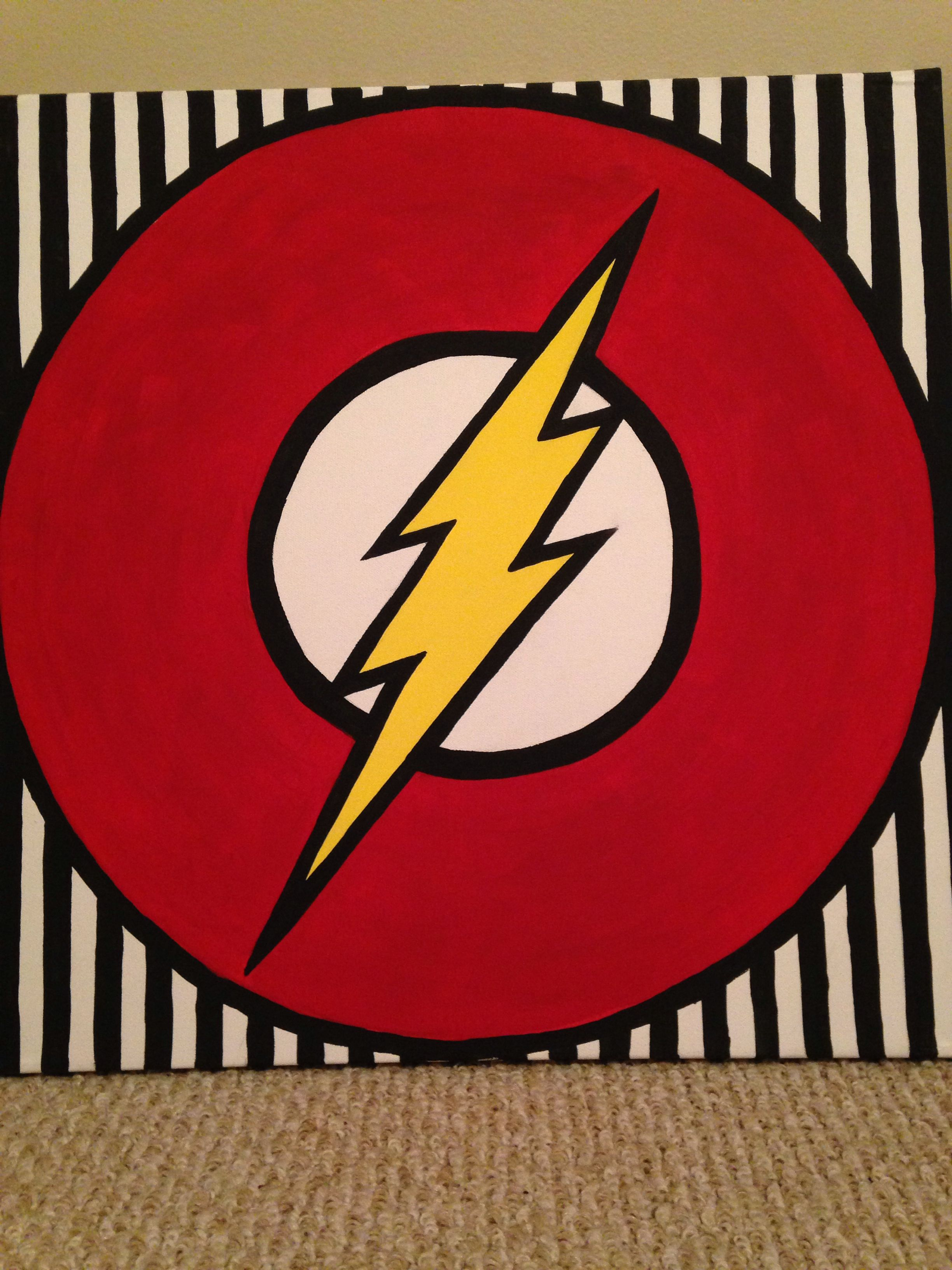 Superhero Wall Art The Flash Supplies 20x20 Canvas Acrylic Paint Charcoal And Some Paint Canvas Painting Diy Superhero Painting Simple Canvas Paintings