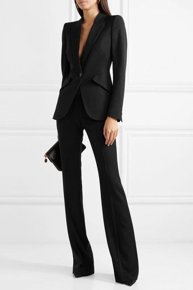 Alexander McQueen  Grain de poudre wool blazer is part of Blazer fashion - Black grain de poudre wool Button fastening at front 100% wool; lining 100% cupro Dry clean Made in Italy